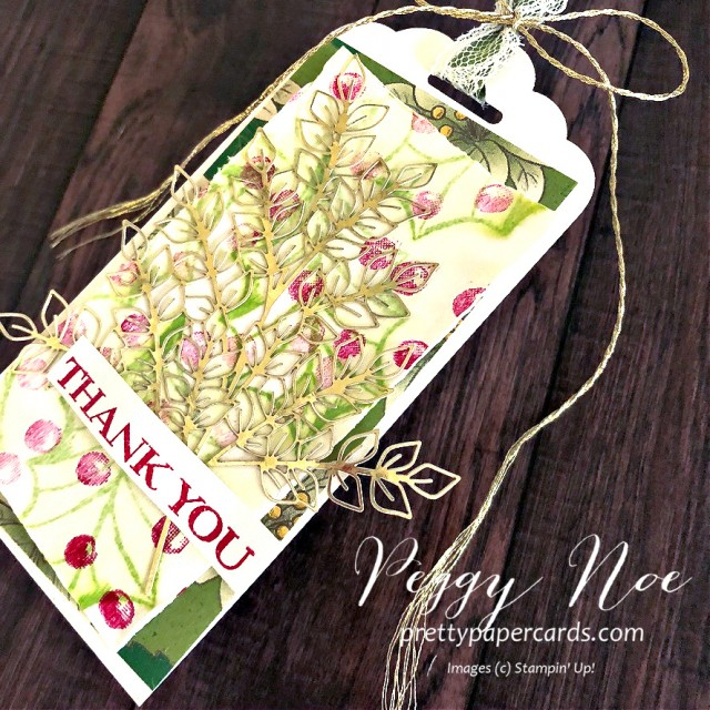 Thank You Tag created with Poinsettia Petals Stamp Set by Stampin' Up! designed by Peggy Noe of prettypapercards.com #poinsettiapetals #thankyou #holidaytag
