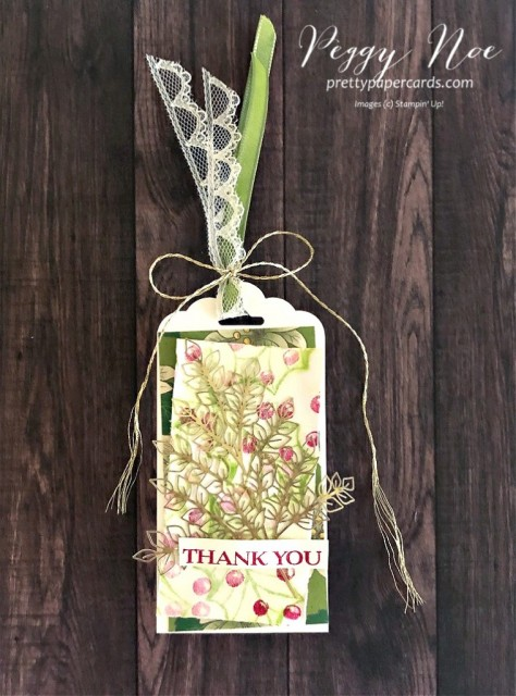 Thank You Tag created with Poinsettia Petals Stamp Set by Stampin' Up! designed by Peggy Noe of prettypapercards.com #poinsettiapetals #thankyoutag #holidaytag