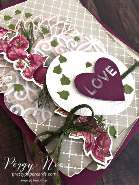 Quite Curvy Layered Love Card by Peggy Noe of prettypapercards.com Stampin' Up! #quitecurvy #wreathbuilderdies #lovecard