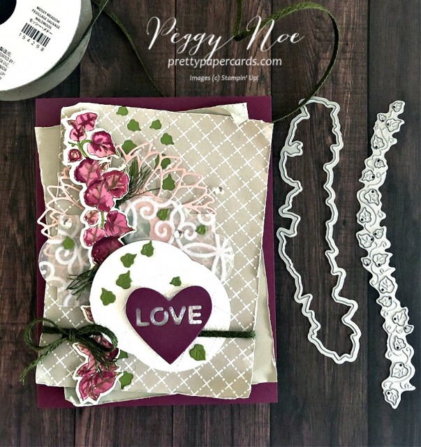 Handmade card using the Quite Curvy Bundle by Stampin' Up! Designed by Peggy Noe of prettypapercards.com #quitecurvy #layeredcard #lovecard
