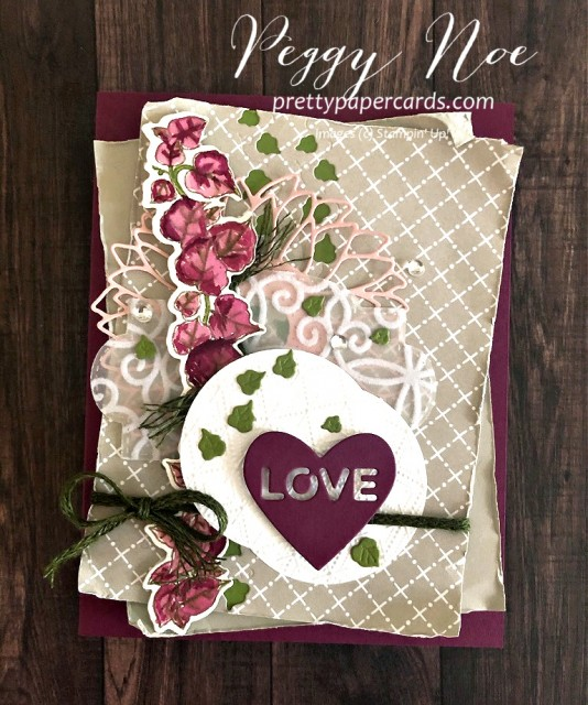 Quite Curvy Leaf Card by Peggy Noe of prettypapercards.com Stampin' Up! #quitecurvy #wreathbuilder #lovecard