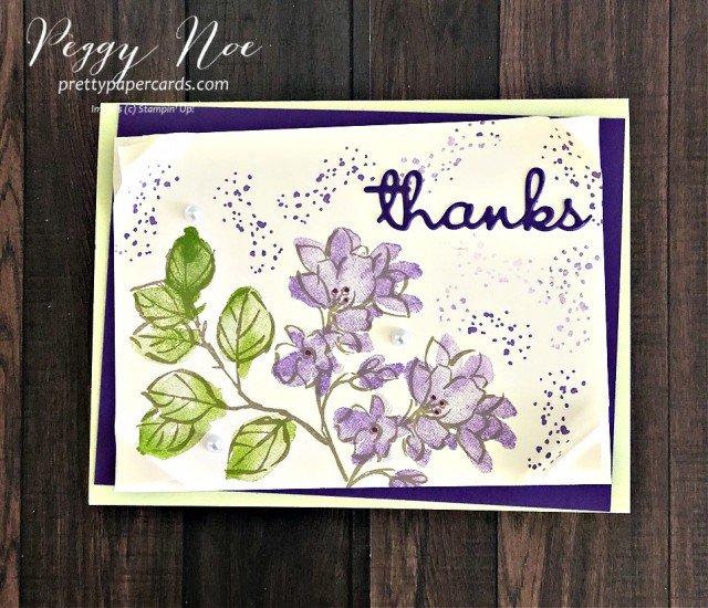 Handmade thank you card using A Touch of Ink, Stampin' Up! Sale-a-Bration Stamp Set; created by Peggy Noe of prettypapercards.com #Atouchofink #saleabration #thankyou