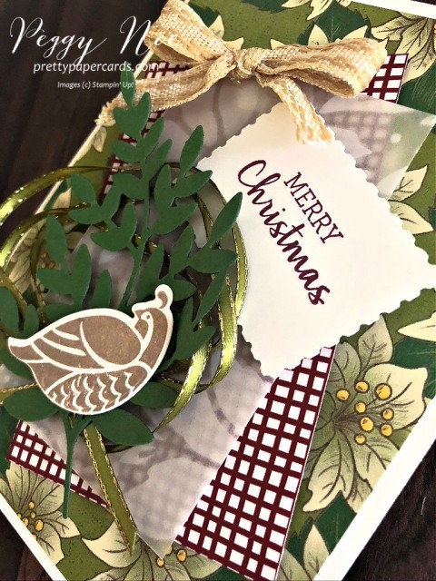 Partridge in a Pear Tree created with the Stampin' Up!Arrange a Wreath Bundle designed by Peggy Noe prettypapercards.com #partridgeinapeartree #peggynoe #arrangeawreath #stampinupChristmas
