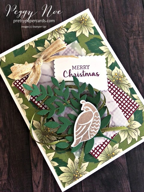 Partridge in a Pear Tree created with the Stampin' Up!Arrange a Wreath Bundle designed by Peggy Noe of prettypapercards.com #partridgeinapeartree #peggynoe #arrangeawreath #stampinupChristmas