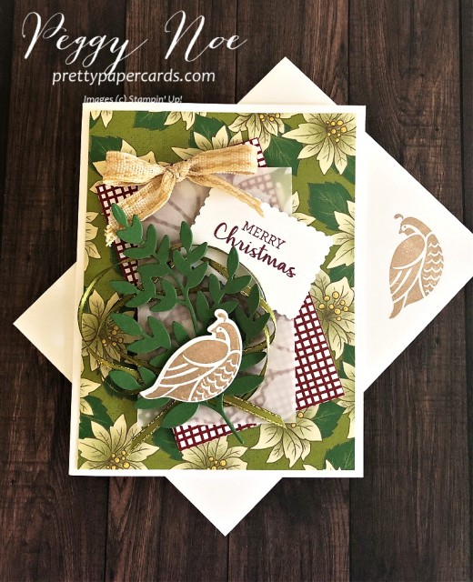 Partridge in a Pear Tree Card created with the Stampin' Up!Arrange a Wreath Bundle designed by Peggy Noe of prettypapercards.com #partridgeinapeartree #peggynoe #arrangeawreath #stampinupChristmas