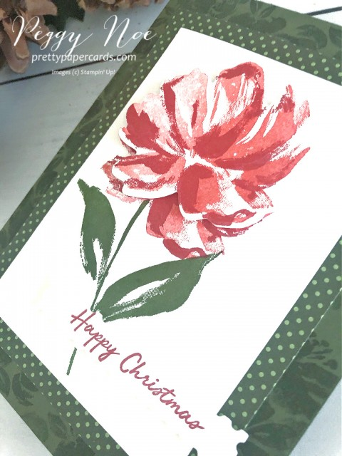 Handmade Stampin' Up! Floral Art Gallery Christmas by Peggy Noe of Prettypapercards.com #floralart #fineartfloral #Christmascard #stampinup