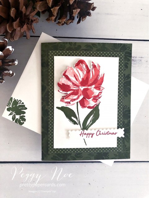 Handmade Floral Art Gallery Christmas Card by Peggy Noe of Prettypapercards.com using Stampin' Up! products #floralart #fineartfloral #Christmascard #stampinup