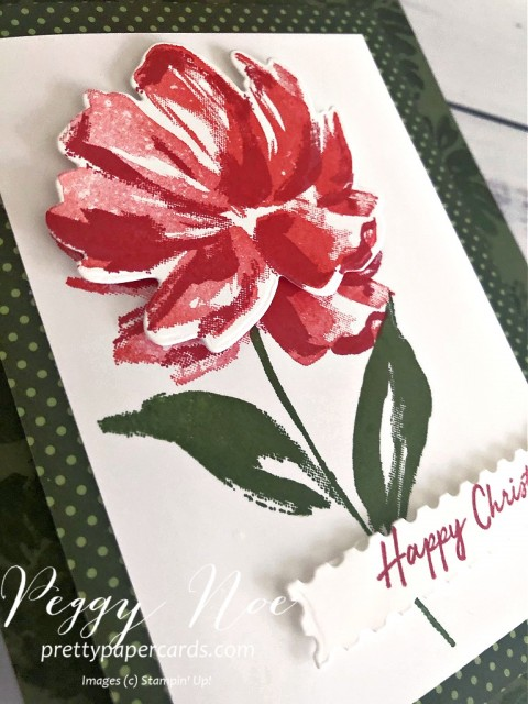 Handmade Stampin' Up! Floral Art Gallery Christmas Card by Peggy Noe of Prettypapercards.com #floralart #fineartfloral #Christmascard #stampinup