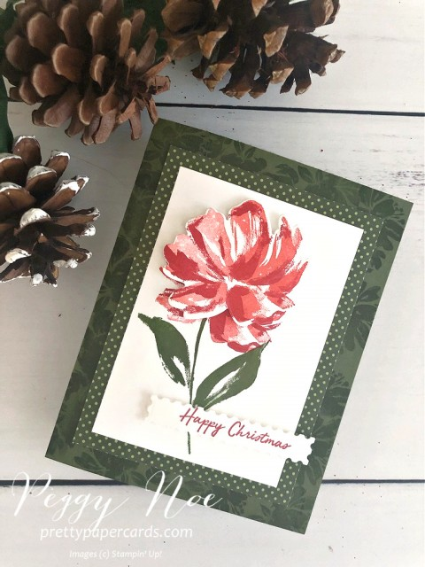 Handmade Stampin' Up! Floral Art Gallery Card by Peggy Noe of Prettypapercards.com #floralart #fineartfloral #Christmascard #stampinup