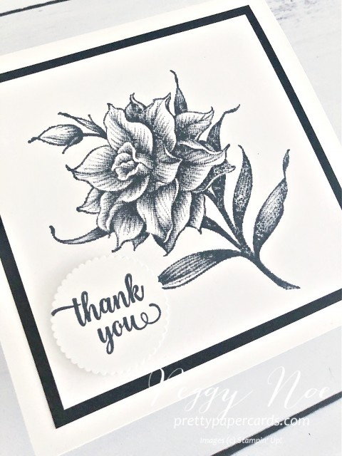 Handmade Thank You Card Using the Flowering Blooms Stamp Set by Stampin' Up! created by Peggy Noe of prettypapercards.com #floweringblooms #stampinup #peggynoe #handmadecards