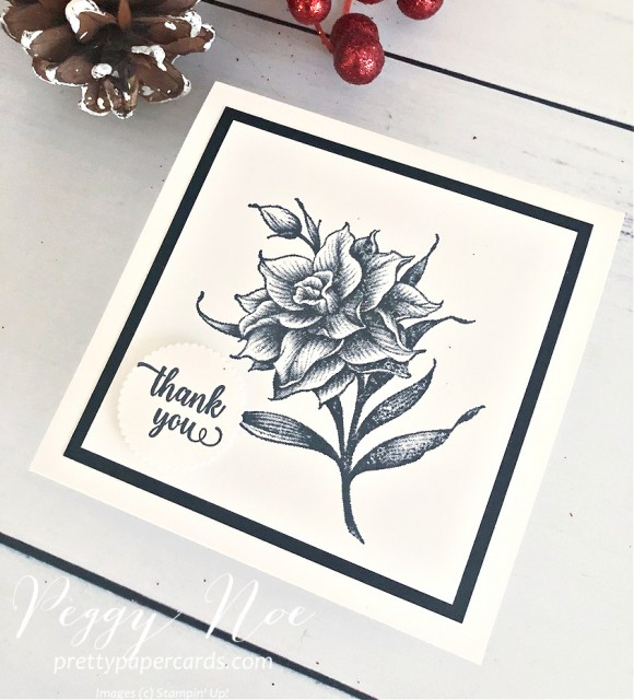 Handmade Thank You Card Using the Flowering Blooms Stamp Set by Stampin' Up! created by Peggy Noe of prettypapercards.com #floweringblooms #stampinup #peggynoe #handmadecard