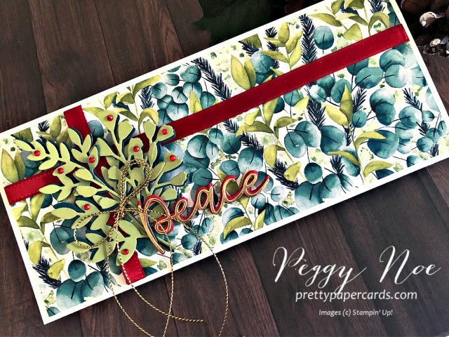 Handmade card using the Stampin' Up! Forever Flourishing Dies and the Joy Dies designed by Peggy Noe from prettypapercards.com #peacecard #foreverflourishingdies #stampinup #peace