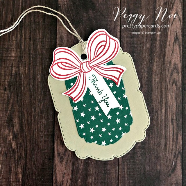 Handmade Tag Using the Gift Wrapped Bundle from Stampin' Up! designed by Peggy Noe of prettypapercards.com #giftwrappedbundle #handmadetag #thankyoutag
