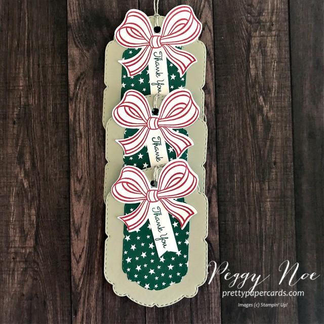 Handmade Tag Using the Gift Wrapped Bundle from Stampin' Up! designed by Peggy Noe from prettypapercards.com #giftwrappedbundle #handmadetag #thankyoutag