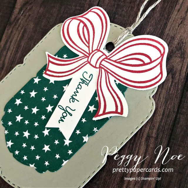 Handmade Thank You Tag Using the Gift Wrapped Bundle from Stampin' Up! designed by Peggy Noe from prettypapercards.com #giftwrappedbundle #handmadetag #thankyoutag