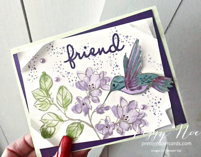 Handmade card with a Hummingbird from the A Touch of Ink Stamp Set by Stampin' Up! designed by Peggy Noe of prettypapercards.com' #hummngbird #atouchofink #hummingbirdcard