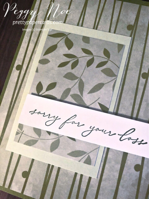 Handmade card using the Sale-a-Bration 2021 Paper Blooms Designer Series Paper and Heal My Heart Stamp Set by Stampin' Up! designed by Peggy Noe of Pretty Paper Cards #paperblooms #healmyheartstampset #peggynoe #prettypapercards #saleabration #leaves