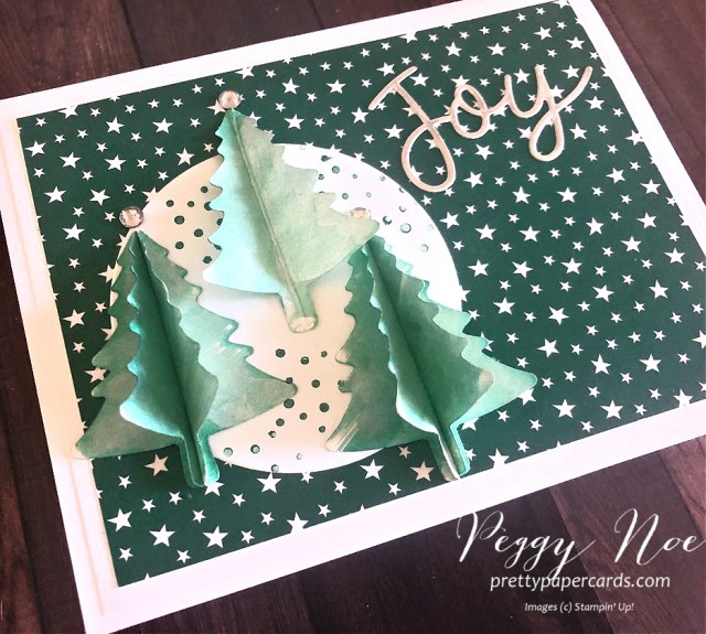 Handmade holiday card created using Stampin' Up! Joy Dies and Pine Tree Punch; designed by Peggy Noe of Pretty Paper Cards #joydies #pinetreepunch #stampinup #holidaycard