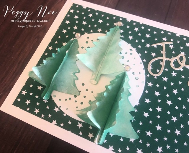 Handmade holiday card created using Stampin' Up! Joy Dies and Pine Tree Punch; designed by Peggy Noe from Pretty Paper Cards #joydies #pinetreepunch #stampinup