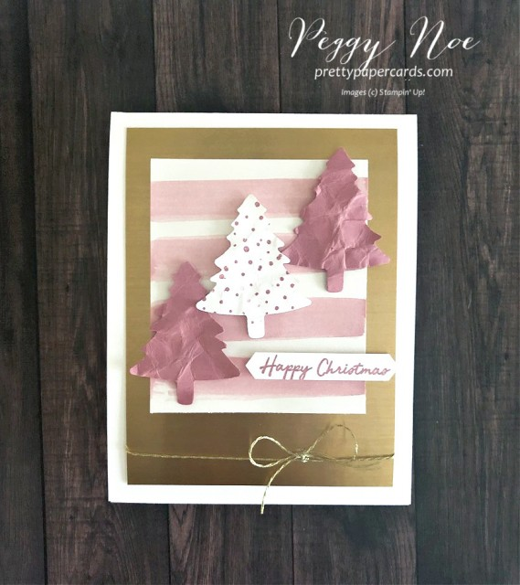 Pink Christmas Trees Card using Stampin' Up! products designed by Peggy Noe of prettypapercards.com #