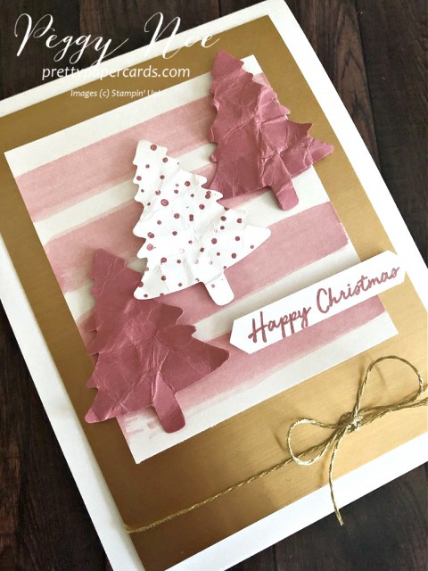 Handmade Christmas Card with Pink trees and brushed gold background from Stampin' Up! designed by Peggy Noe of prettypapercards.com #Christmascard #pinkchristmastrees #warmhugsstampset