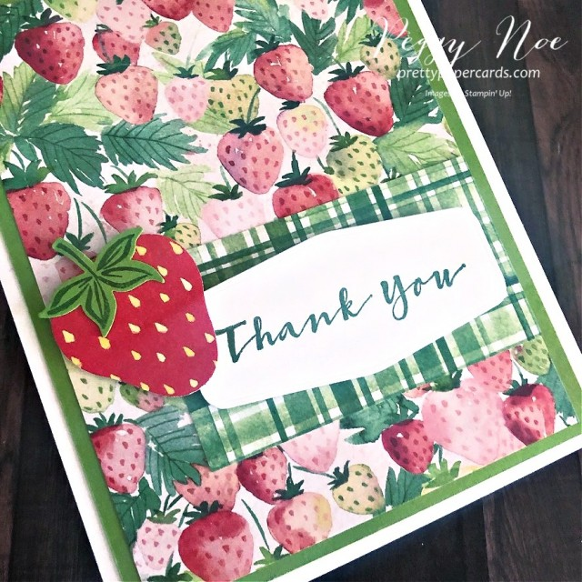 Handmade thank you card with a Sneak Peek of the Sweet Strawberry Bundle by Stampin' Up! designed by Peggy Noe of prettypapercards.com #sweetstrawberry #thankyoucard #berrydelightfulpaper