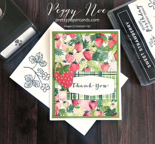 Handmade thank you with a Sneak Peek of the Sweet Strawberry Bundle by Stampin' Up! designed by Peggy Noe of prettypapercards.com #sweetstrawberry #thankyoucard #berrydelightfulpaper