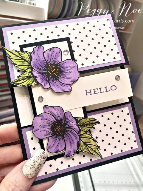 True Love Designer Series Paper by Stampin' Up! Hello Card designed by Peggy Noe of prettypapercards.com #Truelove #hellocard #peggynoe