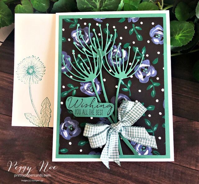 Handmade best wishes card uses Garden Wishes card by Stampin' Up! designed by Peggy Noe of prettypapercards.com #gardenwishes #gardenwishesbundle #peggynoe