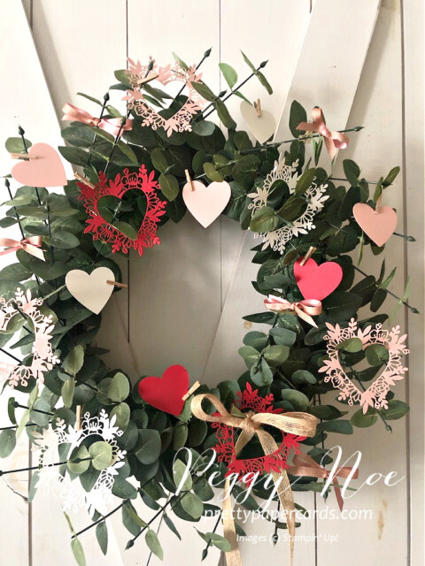 Handmade Wreath Using the Always in my Heart Bundle by Stampin' Up! made by Peggy Noe of prettypapercards.com #alwaysinmyheart #alwaysinmyheartbundle #valentinewreath #wreath #peggynoe #prettypapercards