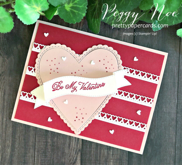 Handmade Valentine card made with Stampin' Up! Always in my Heart Bundle, created by Peggy Noe of prettypapercards.com #valentinecard #alwaysinmyheartstampset #prettypapercards