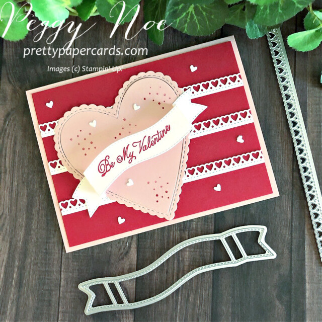 Handmade Valentine card made with Stampin' Up! Always in my Heart Bundle, created by Peggy Noe of prettypapercards.com #valentinecard #alwaysinmyheart #peggynoe
