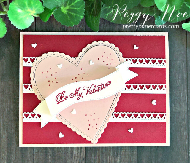 Handmade Valentine card made with Stampin' Up! Always in my Heart Bundle, created by Peggy Noe of prettypapercards.com #valentinecard #alwaysinmyheart #prettypapercards