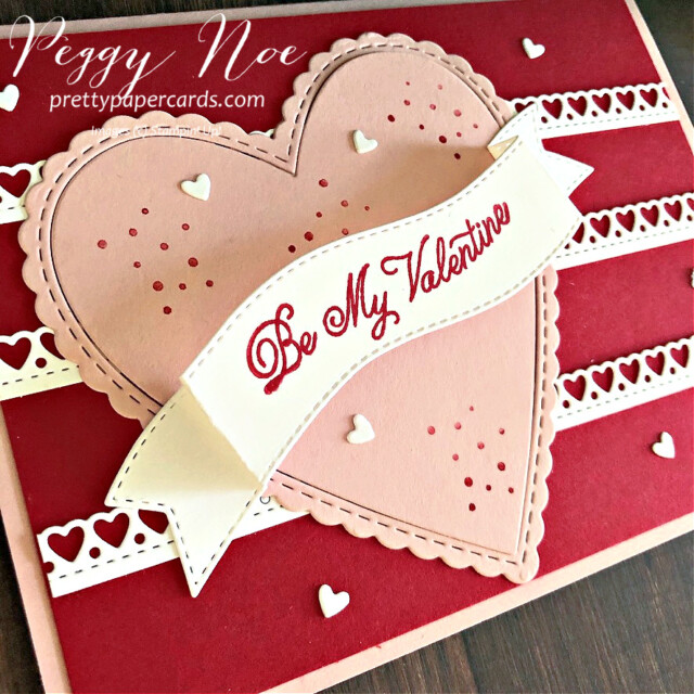 Handmade Valentine card made with Stampin' Up! Always in my Heart Bundle, created by Peggy Noe of prettypapercards.com #valentinecards #alwaysinmyheartstampset #prettypapercards