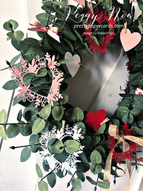 Handmade Wreath Using the Always in my Heart Bundle by Stampin' Up! made by Peggy Noe of prettypapercards.com #alwaysinmyheart #alwaysinmyheartbundle #valentinewreath #valentinewreath #prettypapercards
