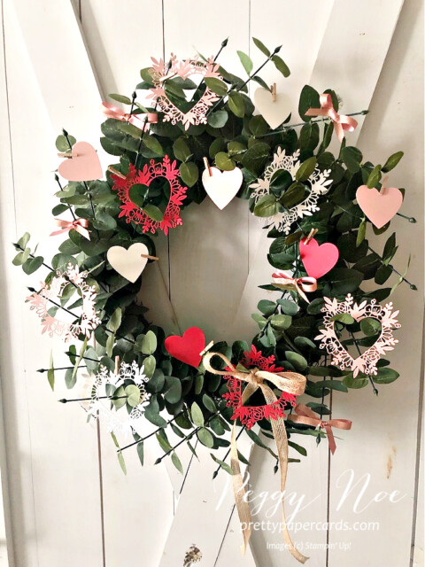 Handmade Wreath Using the Always in my Heart Bundle by Stampin' Up! made by Peggy Noe of prettypapercards.com #alwaysinmyheart #alwaysinmyheartbundle #valentinewreath #wreath #prettypapercards