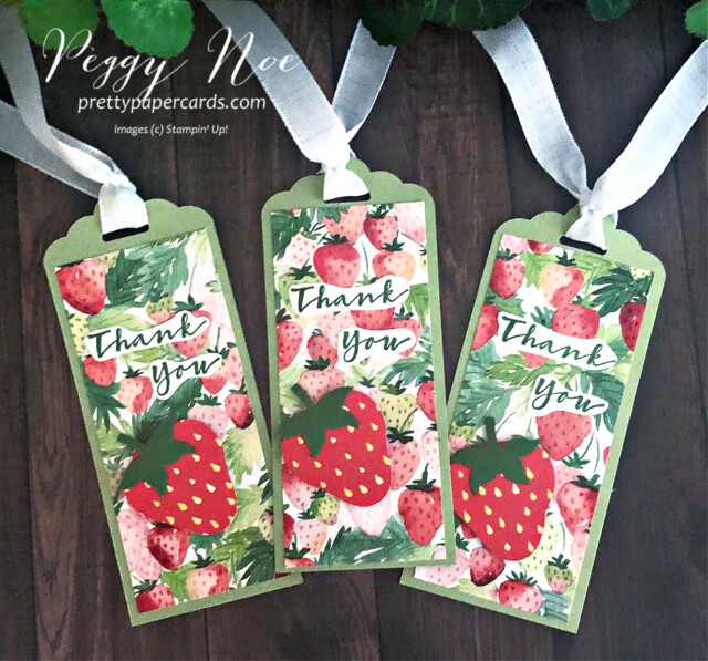 Handmade Thank You Tag using the Berry Delightful Designer Series Paper & Sweet Strawberry Stamp Set by Stampin' Up! designed by Peggy Noe of prettypapercards.com #tag #tags #sweetstrawberry #berrydelightful #berrydelightfulpaper