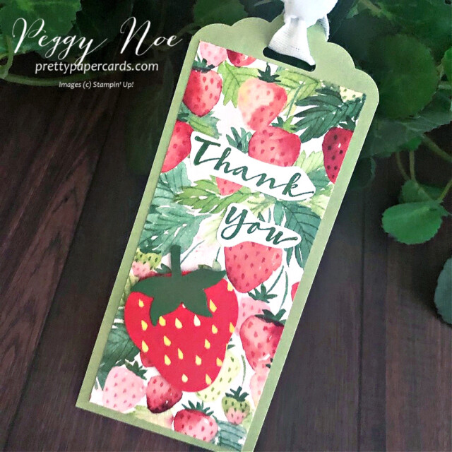 Handmade Thank You Tag using the Berry Delightful Designer Series Paper and Sweet Strawberry Stamp Set by Stampin' Up! designed by Peggy Noe of prettypapercards.com #tag #tags #sweetstrawberru #berrydelightful #berrydelightful