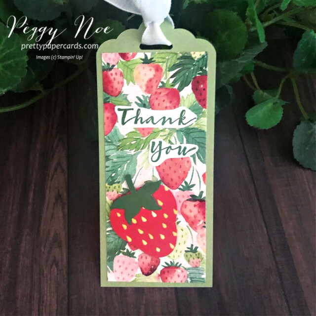 Handmade Thank You Tag using the Berry Delightful Designer Series Paper & Sweet Strawberry Stamp Set by Stampin' Up! designed by Peggy Noe of prettypapercards.com #tag #tags #sweetstrawberry #berrydelightful #berrydelightfuldsp