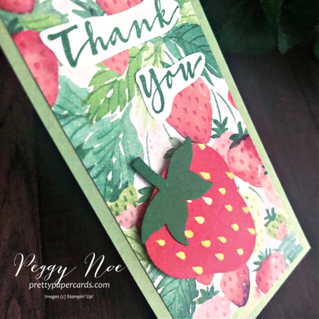Handmade Thank You Tags using the Berry Delightful Designer Series Paper and Sweet Strawberry Stamp Set by Stampin' Up! designed by Peggy Noe of prettypapercards.com #tag #tags #sweetstrawberry #berrydelightful #berrydelightfuldsp