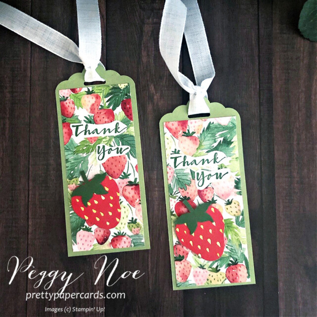 Handmade Thank You Tags using the Berry Delightful Designer Series Paper & Sweet Strawberry Stamp Set by Stampin' Up! designed by Peggy Noe of prettypapercards.com #tag #tags #sweetstrawberry #berrydelightful #berrydelightfuldsp