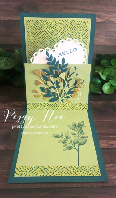 Handmade 3D Step Card using the Forever Greenery Suite by Stampin' Up! created by Peggy Noe of prettypapercards.com #stepcard #forevergreenery #peggynoe #prettypapercards #fancyfold