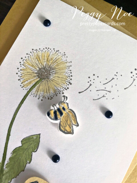 Handmade Dandelion Card made with the Garden Wishes Bundle by Stampin' Up! designed by Peggy Noe Pretty Paper Cards #gardenwishes #peggynoe #prettypapercards.com