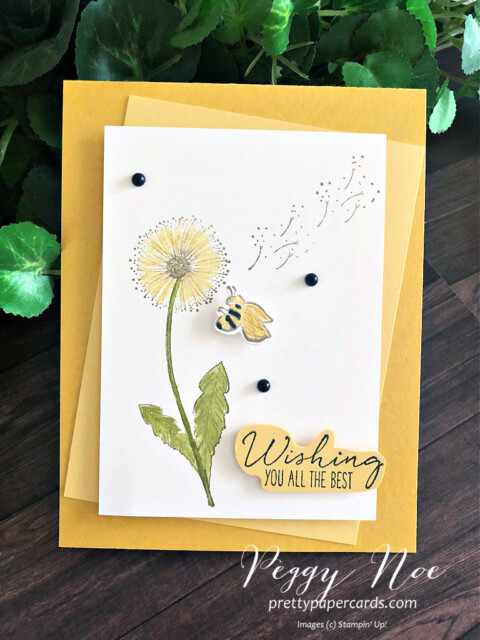 Handmade Dandelion Card made with the Garden Wishes Bundle by Stampin' Up! designed by Peggy Noe of Pretty Paper Cards #gardenwishes #peggynoe #prettypapercards.com