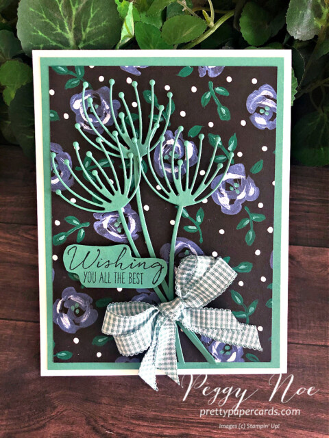 Handmade best wishes card uses Garden Wishes card by Stampin' Up! designed by Peggy Noe of prettypapercards.com #gardenwishes #gardenwishesbundle #peggynoe #pretttypapercards