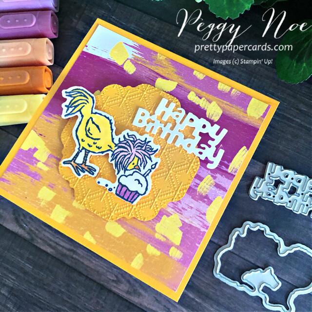 Handmade Birthday Card made with the Hey Birthday Chick Bundle by Stampin' Up! designed by Peggy Noe of Pretty Paper Cards #heybirthdaychick #birthdaycard #chickenbirthdayc#peggynoeard