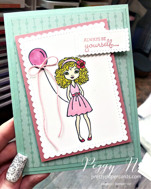 Handmade card using the Hey Girlfriend stamp set by Stampin' Up! designed by Peggy Noe of Prettypapercards.com #heygirlfriendstampset #prettypapercards