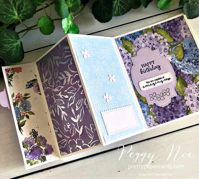 Handmade Triple-Fold Card Using Hydrangea Hill Suite by Stampin' Up! created by Peggy Noe at prettypapercards.com #hydrangeahill #hydrangeahaven #peggynoe