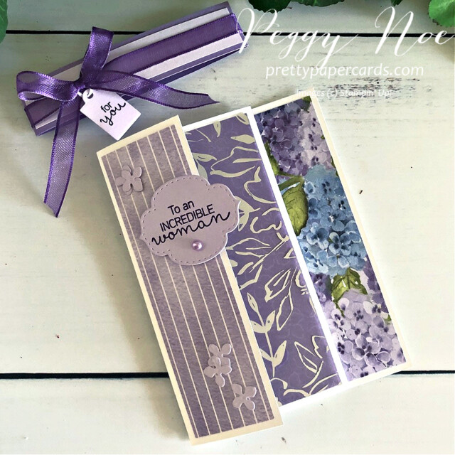 Handmade Triple-Fold Card Using Hydrangea Hill Suite by Stampin' Up! designed by Peggy Noe at prettypapercards.com #hydrangeahill #hydrangeahaven #peggynoe