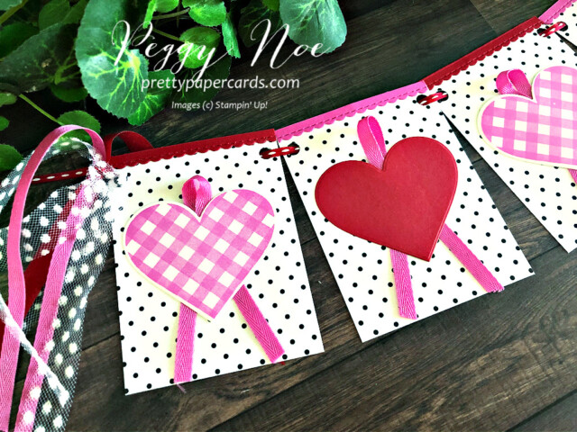 Handmade Valentine Banner using the Stampin' Up! Lots of Heart Bundle designed by Peggy Noe of prettypapercards.com #peggynoe #lotsofheart #valentinebanner